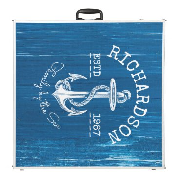Beach Themed Monogram Vintage Nautical Anchor Blue Painted Wood Beer Pong Table