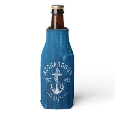 Beach Themed Monogram Vintage Nautical Anchor Blue Painted Wood Bottle Cooler