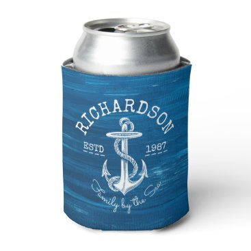 Beach Themed Monogram Vintage Nautical Anchor Blue Painted Wood Can Cooler