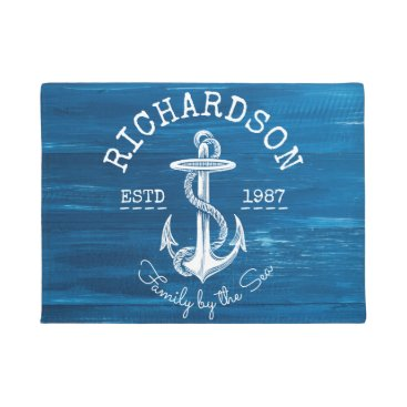 Beach Themed Monogram Vintage Nautical Anchor Blue Painted Wood Doormat