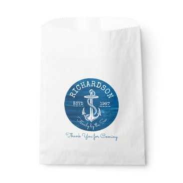 Beach Themed Monogram Vintage Nautical Anchor Blue Painted Wood Favor Bag