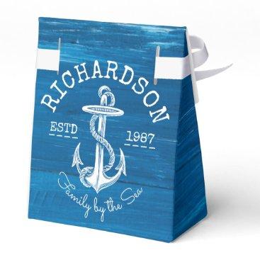 Beach Themed Monogram Vintage Nautical Anchor Blue Painted Wood Favor Box