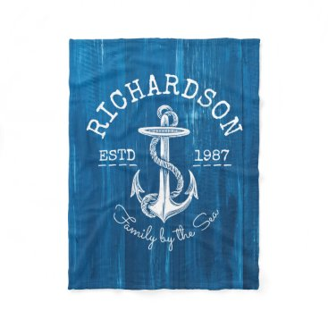 Beach Themed Monogram Vintage Nautical Anchor Blue Painted Wood Fleece Blanket
