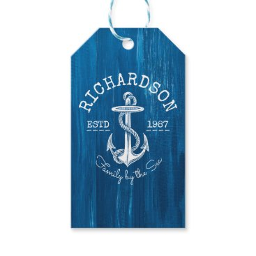 Beach Themed Monogram Vintage Nautical Anchor Blue Painted Wood Gift Tags