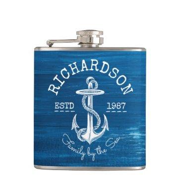 Beach Themed Monogram Vintage Nautical Anchor Blue Painted Wood Hip Flask
