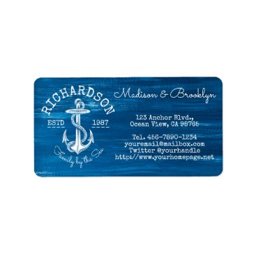 Beach Themed Monogram Vintage Nautical Anchor Blue Painted Wood Label