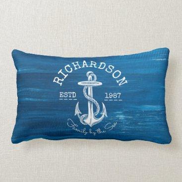 Beach Themed Monogram Vintage Nautical Anchor Blue Painted Wood Lumbar Pillow