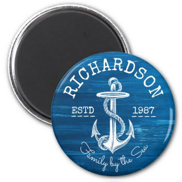 Beach Themed Monogram Vintage Nautical Anchor Blue Painted Wood Magnet