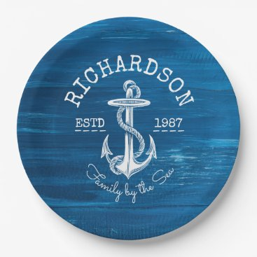 Beach Themed Monogram Vintage Nautical Anchor Blue Painted Wood Paper Plate