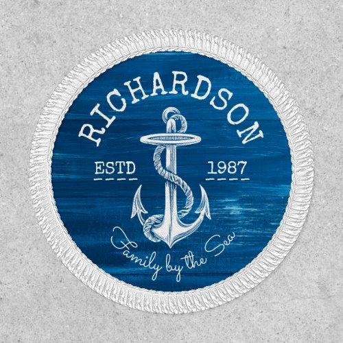 Monogram Vintage Nautical Anchor Blue Painted Wood Patch