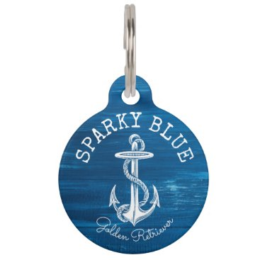 Beach Themed Monogram Vintage Nautical Anchor Blue Painted Wood Pet ID Tag