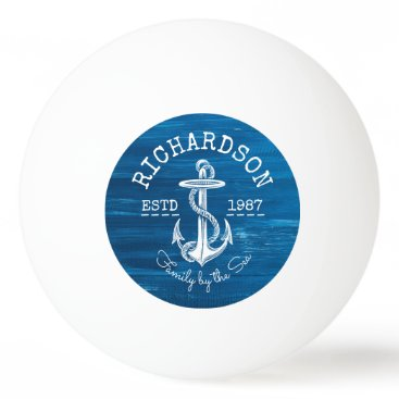 Beach Themed Monogram Vintage Nautical Anchor Blue Painted Wood Ping Pong Ball