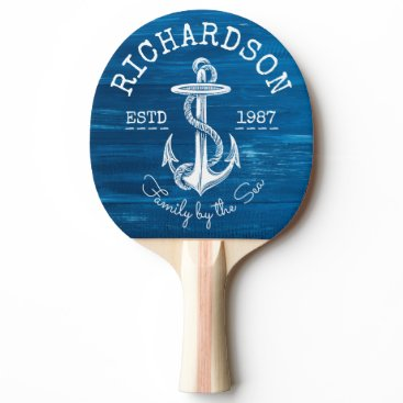 Beach Themed Monogram Vintage Nautical Anchor Blue Painted Wood Ping Pong Paddle