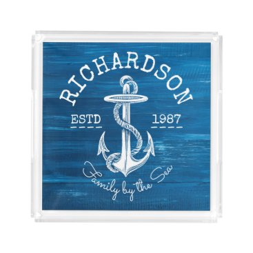 Beach Themed Monogram Vintage Nautical Anchor Blue Painted Wood Serving Tray