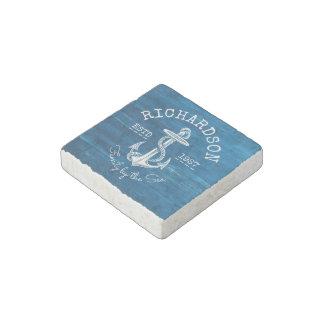 Monogram Vintage Nautical Anchor Blue Painted Wood Stone Magnet
