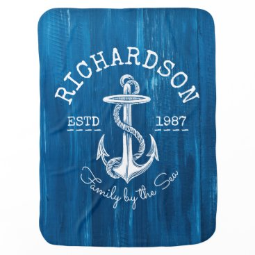 Beach Themed Monogram Vintage Nautical Anchor Blue Painted Wood Stroller Blanket