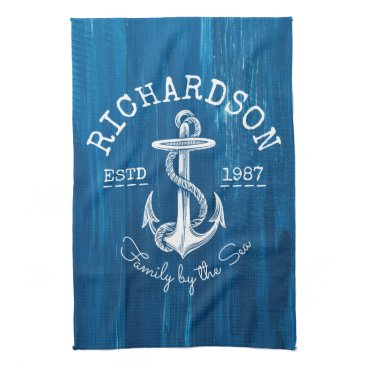 Beach Themed Monogram Vintage Nautical Anchor Blue Painted Wood Towels