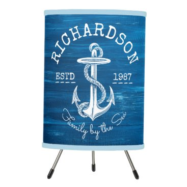 Beach Themed Monogram Vintage Nautical Anchor Blue Painted Wood Tripod Lamp