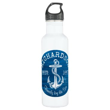 Beach Themed Monogram Vintage Nautical Anchor Blue Painted Wood Water Bottle