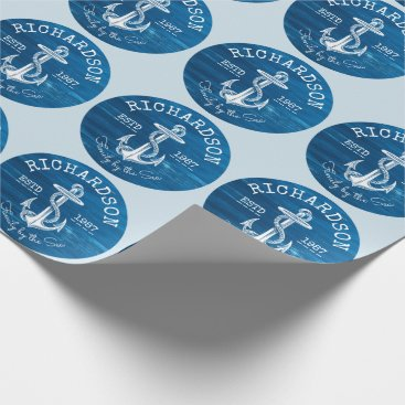 Beach Themed Monogram Vintage Nautical Anchor Blue Painted Wood Wrapping Paper