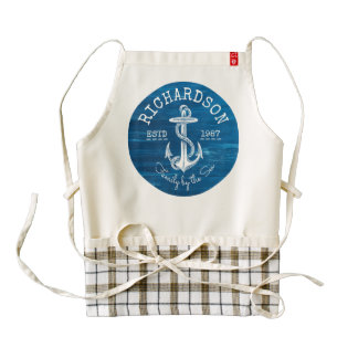Monogram Vintage Nautical Anchor Blue Painted Wood Zazzle HEART Apron
