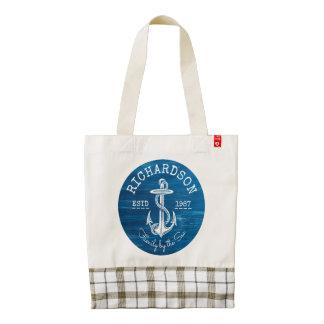 Monogram Vintage Nautical Anchor Blue Painted Wood Zazzle HEART Tote Bag