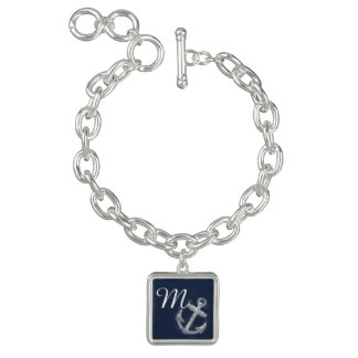 Monogram Vintage Nautical Anchor Navy Blue/White Bracelets