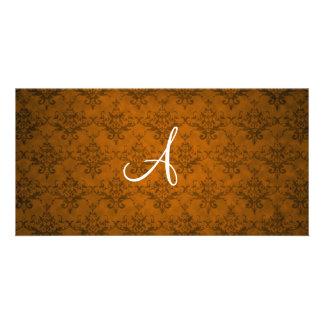 Monogram vintage orange damask photo card