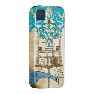 Monogram Vintage Peacock Birdcage Damask iPhone iPhone 4 Cases