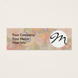 Monogram Vintage Pink Floral Kimono Flower Pattern Mini Business Card