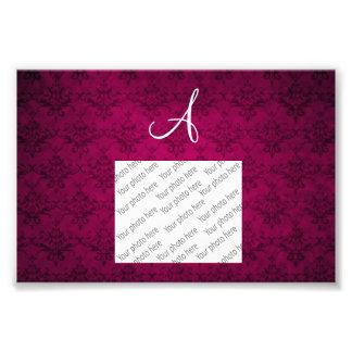 Monogram vintage plum pink damask photo print