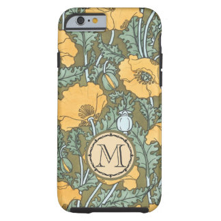Monogram Vintage Poppy Yellow Floral Pattern Tough iPhone 6 Case