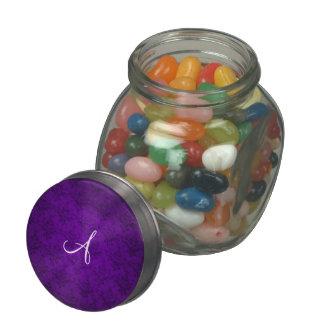 Monogram vintage purple damask glass candy jar