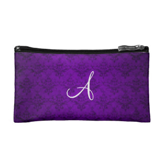 Monogram vintage purple damask makeup bag