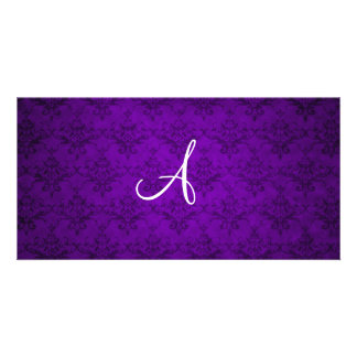 Monogram vintage purple damask photo card