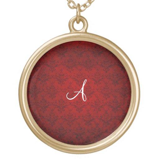Monogram vintage red damask necklace