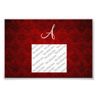 Monogram vintage red damask photo print