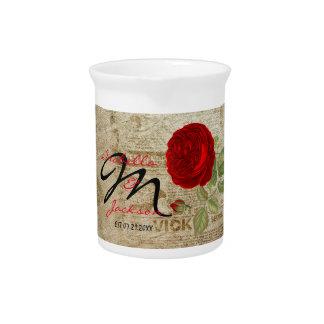 Monogram Vintage Red Rose Beverage Pitcher