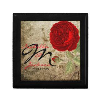 Monogram Vintage Red Rose on Grunge Background Keepsake Box