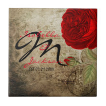 Monogram Vintage Red Rose on Grunge Background Tile