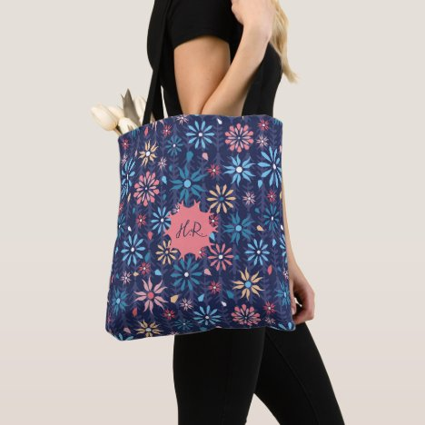 Monogram vintage retro scattered flowers tote bag