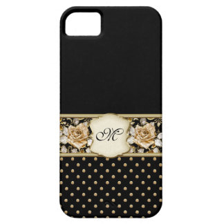 Monogram Vintage Roses Black & Gold iPhone 5 Case