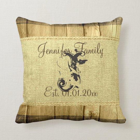 Linen Monogram Throw Pillow: Monogram Vintage Rustic Burlap Linen Wood Look Throw