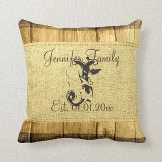 Monogram Vintage Rustic Burlap Linen Wood Look Throw Pillow