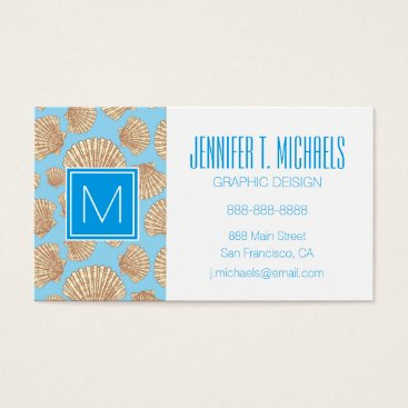 Beach Themed Monogram Vintage Style Seashell Pattern Business Card