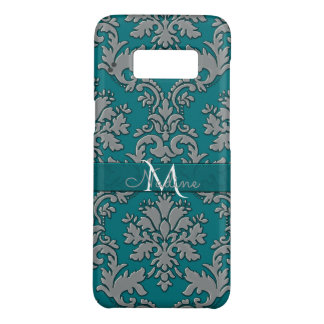 Monogram Vintage Teal and Silver Damask Case-Mate Samsung Galaxy S8 Case