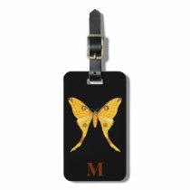 Monogram Vintage Travel Yellow Brown Butterfly Luggage Tag