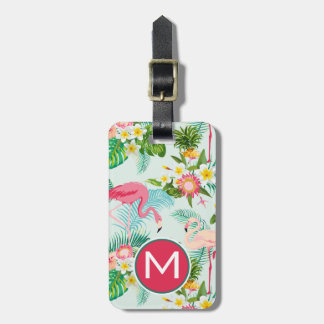 Monogram Vintage Tropical Flowers And Birds Luggage Tag