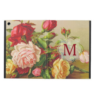 Monogram Vintage Victorian Roses Bouquet Flowers iPad Air Cover