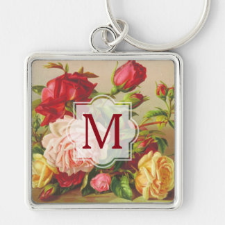 Monogram Vintage Victorian Roses Bouquet Flowers Keychain